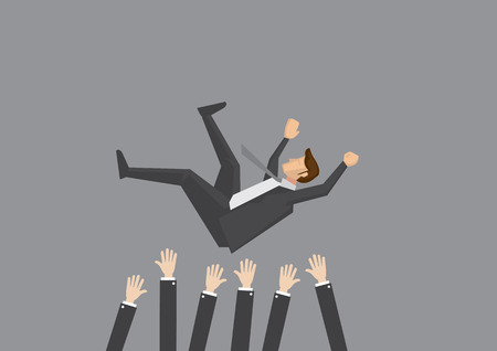 Popular businessman get thrown into the air by coworkers during celebration. Vector illustration for business concept isolated on plain grey background.