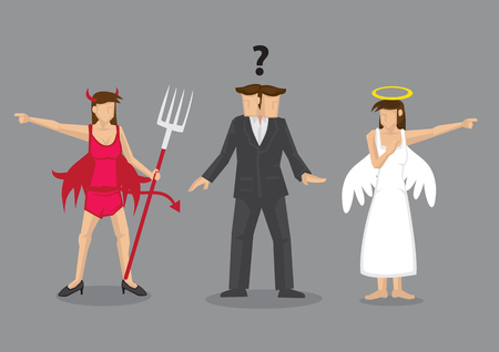 Red devil and white angel pointing to different direction leaving cartoon man confused. Creative vector illustration for difficult decision concept isolated on grey background. Illustration