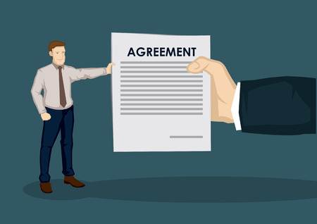 Big hand giving business contract to small cartoon businessman. Creative vector illustration on business agreement concept isolated on green background.
