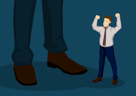 Little cartoon man with raised fist in angry gesture beside a bigger man. Creative vector illustration on displeasure with management concept isolated on green background. Vectores