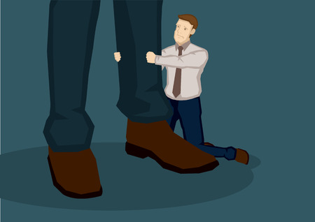 Sad cartoon man kneeling on the ground pulling the trousers on a pair of giant legs. Creative vector illustration on pleading concept isolated on green background.