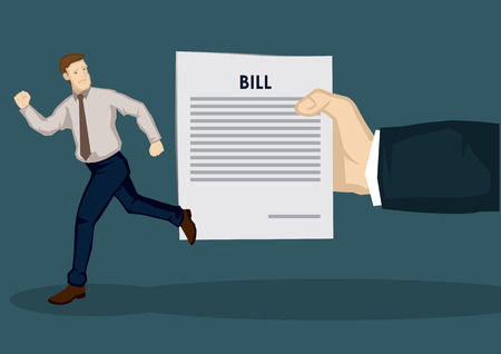 Cartoon man fleeing away from huge hand holding a paper with the word bill on it. Creative vector illustration on financial concept isolated on green background. Stock Illustratie