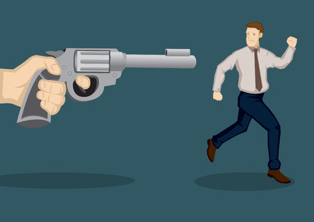 Creative vector illustration of cartoon man trying to running away from a giant hand holding gun, a metaphor for danger and threat, isolated on green background. Illustration