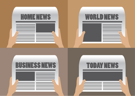 plain background: Hands holding newspaper with different section titles and headlines. Set of four vector cartoon illustration isolated on plain background.