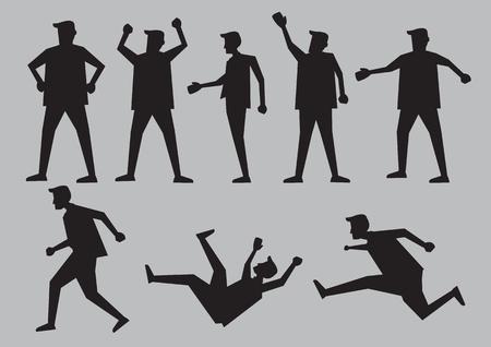 hombre cayendo: negro para hombre de dibujos animados en diferentes gestos y el lenguaje corporal. Ilustración del vector del carácter aislado en fondo gris claro.