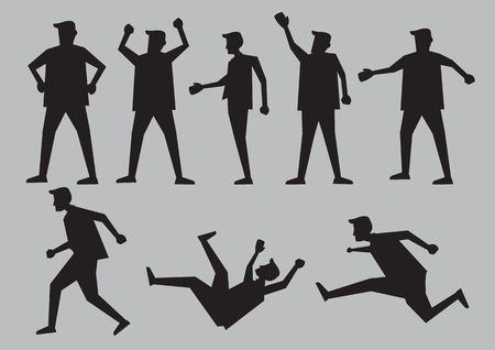 sagoma nera per l'uomo fumetto in diversi gesti e il linguaggio del corpo. carattere vettoriale illustrazione isolato su sfondo grigio chiaro. Vettoriali