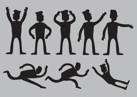 Vector illustration of silhouettes of cartoon man characters in black with different animated gestures isolated against plain grey background.