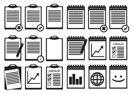espiral: Conjunto de portapapeles y encuadernado en espiral iconos del cuaderno en blanco y negro sobre fondo blanco.