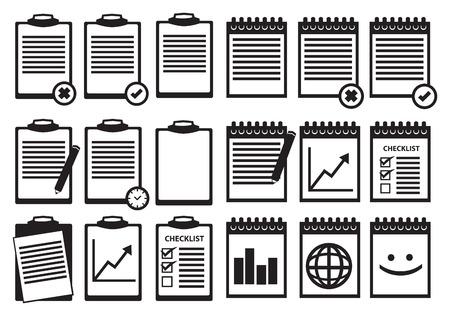 Set de presse-papiers et reliure spirale portable icônes en noir et blanc isolé sur fond blanc.