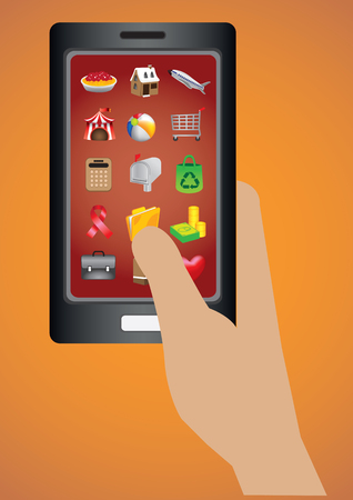 application recycle: Hand holding mobile phone with software applications web icons on touch screen display. Vector cartoon illustration isolated on orange background.