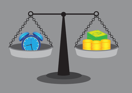 weighing scales: Weighing scales with gold coins and dollar notes representing money and alarm clock with bells representing time. Vector illustration on value of time concept isolated on grey background. Illustration