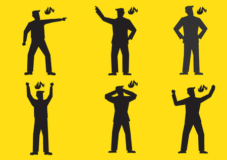 hot temper: Conjunto de seis ejemplo del vector de las siluetas de un hombre enojado de dibujos animados aislado en el fondo amarillo saturado.