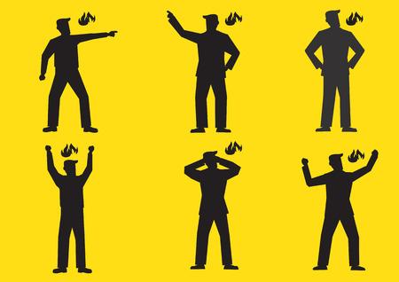 Set van zes vector illustratie van de silhouetten van een boze cartoon man die op verzadigde gele achtergrond. Vector Illustratie