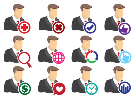 cross bar: Vector Icon Set of businessman with round computer icons isolated on white background. Technology for business concept. Illustration