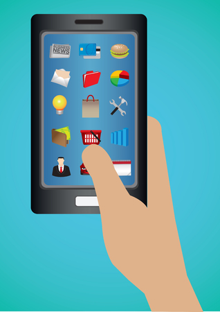 touch screen phone: Hand holding mobile phone with applications icons on touch screen. Vector illustration isolated on blue background.