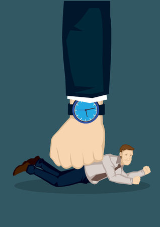 small businesses: Small businessman pinned onto the floor by a huge fist. Creative vector cartoon illustration on difficulty of small businesses under bigger forces concept isolated on green background.