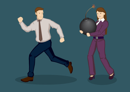 avoiding: Business woman carrying a huge bomb and businessman running away from her. Cartoon vector illustration on concept of avoiding troubles and dangers in business isolated on green background.