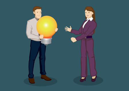 lit: Cartoon businessman and businesswoman with a big lit light bulb, symbol for idea. Creative cartoon illustration on business idea concept isolated on plain background. Illustration