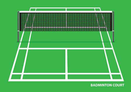 Vektor-Illustration eines leeren Badmintonplatz mit Netz in der Mitte