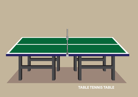 Vector illustration of green table tennis table in side view isolated on plain pale brown background.