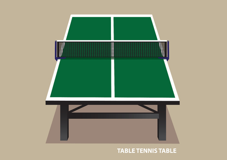 vanishing point: Vector illustration of green wooden table tennis table viewed from one end in high angle shot isolated on plain pale brown background.