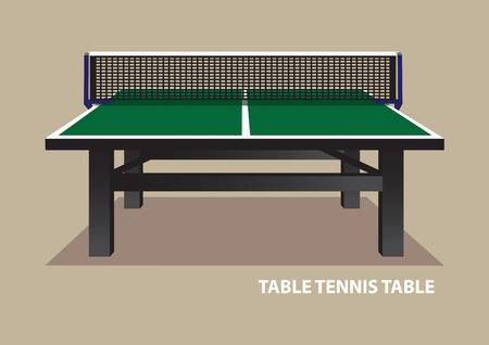 hard court: Vector illustration of green wooden table tennis table viewed from one end at eye level isolated on plain beige background.