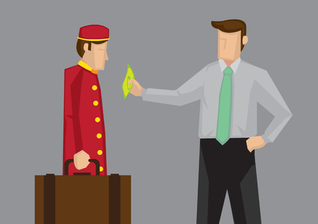Satisfied customer giving a dollar note as tip to hotel porter for carrying his luggage. Vector illustration illustration isolated on grey background.