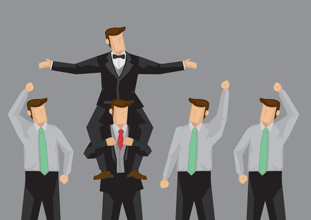 carried: Popular cartoon man being carried on the shoulders of another person and enjoying the cheer of his followers. Vector illustration on popularity at work concept isolated on grey background.