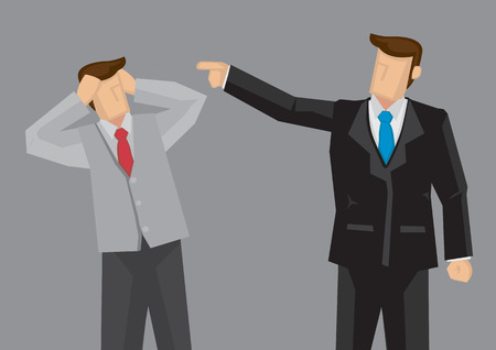 Hombre de la historieta en el dedo índice apuntando al traje negro estresado empleado de manera ofensiva. Vector ilustración de dibujos animados en la crítica al concepto de trabajo aislado en fondo gris.