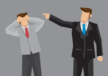 Uomo del fumetto in vestito nero dito indice che punta a stressato dipendente in modo offensivo. Vector cartoon illustrazione sulla critica al concetto di lavoro isolato su sfondo grigio.