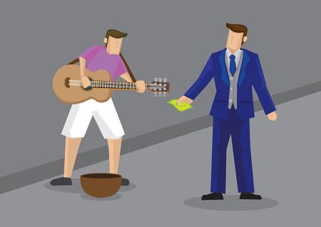 illustrazione vettoriale di cartone animato ricco uomo vestito in abito di fantasia dando contanti per artista di strada a cantare con la chitarra. Vettoriali