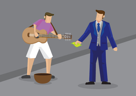Vector illustration of cartoon rich man dressed in fancy suit giving cash to street performer singing with guitar.