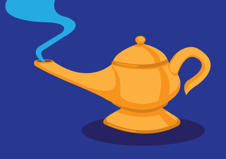 psychic: Vector cartoon illustration of a teapot like golden magical lamp with blue smoke emission from its spout isolated on blue background. Illustration