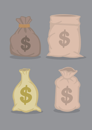 sacks: Set of four designs of sacks full of money with dollar sign. Cartoon vector illustrations isolated on grey background.