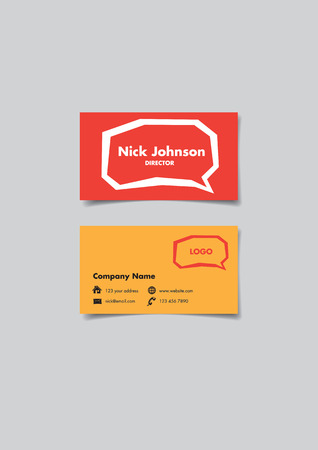Front and back of a name card with angular speech balloon design for communication business. Vector illustration isolated on grey background.
