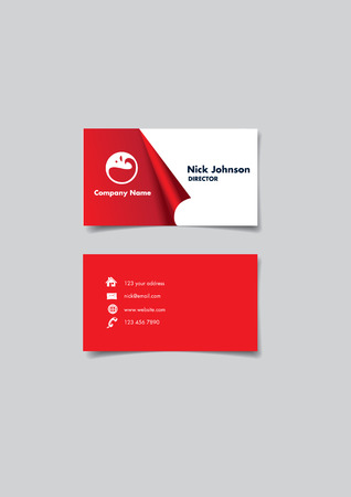 reveal: Front and back of a red and white name card with creative three dimension peel off effect at to reveal company name and logo. Vector illustration isolated on grey background.