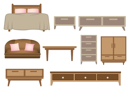 Vector illustration of retro wooden furniture set isolated on white background.
