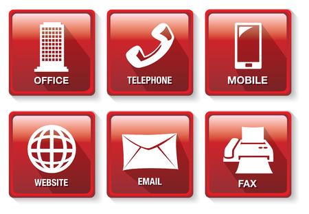 Conjunto de seis ilustraciones de vectores de botones cuadrados rojos en los métodos de contactos de negocios y el tema de la comunicación aislados sobre fondo blanco.
