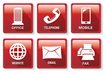 methods: Set of six vector illustrations of red square buttons on business contact methods and  communication theme isolated on white background. Illustration