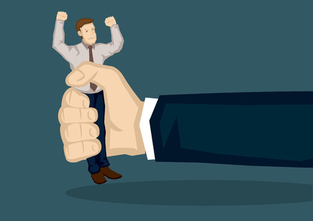 pissed: Unhappy businessman getting squeezed by a giant hand. Creative vector cartoon illustration on concept for financial squeeze of small company isolated on green background,