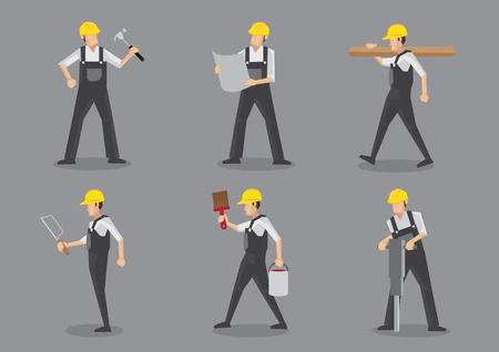 Construction builder in yellow helmet and overall work clothes working with building tools and equipment. Set of six vector character design isolated on grey background