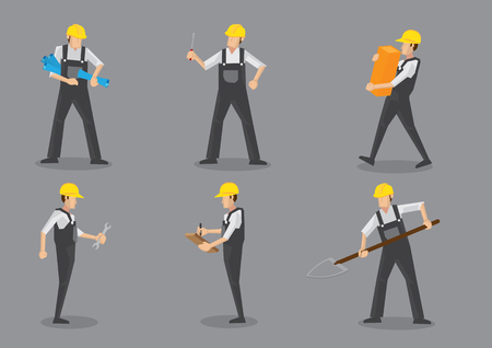 construction plans: Construction worker wearing yellow helmet and overall work clothes working with different tools. Set of six vector character design isolated on grey background