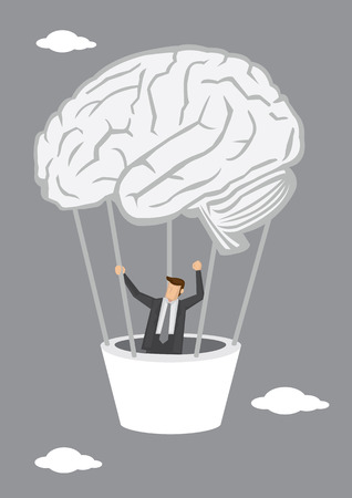 moving up: Businessman moving up the sky in hot air balloon in the shape of human brain. Creative vector illustration for business and intelligence concept.