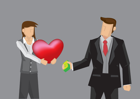 Cartoon woman handing out red heart shape to rich man in black suit with money in hand. Creative vector illustration for exchanging money for love concept isolated on grey background.