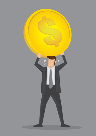 perspiration: Cartoon businessman straining to hold up a huge heavy gold coin over his head. Creative vector illustration on financial strain or heavy business overhead cost concept isolated on grey background.