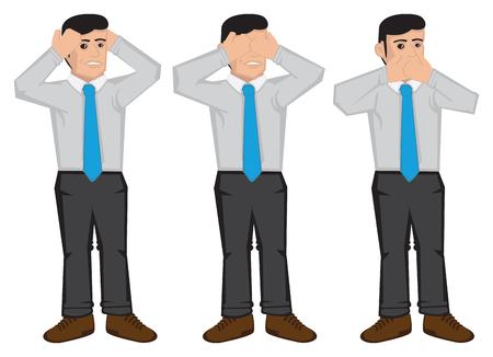 ejemplo de hombre de negocios usando las manos para cubrirse los oídos, los ojos y la boca aisladas sobre fondo blanco. Ilustración de dibujos animados de proverbio no ven mal, no escuchar el mal y no hablar mal. Ilustración de vector