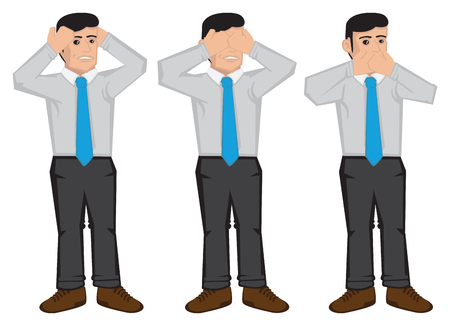 no body language: illustration of businessman using hands to cover ears, eyes and mouth isolated on white background. Cartoon illustration for proverb see no evil, hear no evil and speak no evil. Illustration