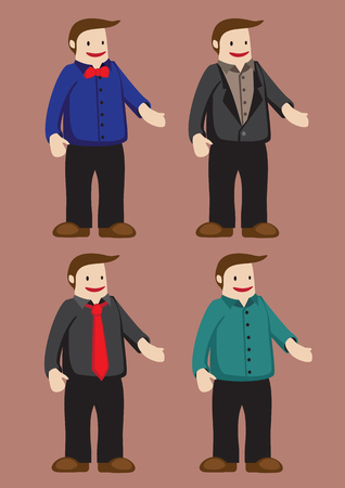 plus size: illustration of funny cartoon man character in fashionable tops and shirts isolated on plain brown background