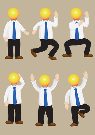 long pants: Set of illustration of cartoon man wearing white long sleeve shirt and black pants with lightbulb as his head. Concept for resourceful man with bright ideas and creativity, Illustration