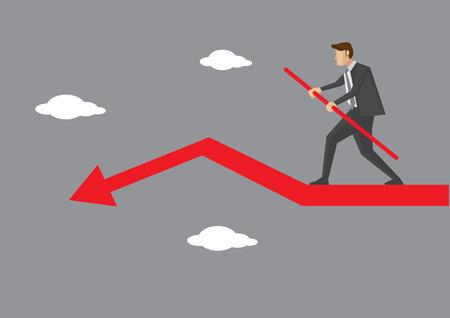 business cartone animato esecutivo facendo cielo a piedi e in equilibrio con cura sul declino freccia rossa. illustrazione creativa sul rischio d'impresa e bilanciamento del concetto atto.